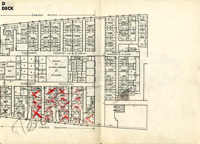 PAQUEBOT S.S NORMANDIE - PLAN DES 3èmes CLASSES - NOIR ET BLANC EDITION JANVIER 1935 - PONT D DROITE