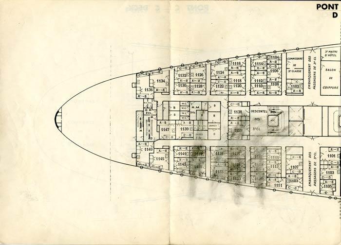 PAQUEBOT S.S NORMANDIE - PLAN DES 3èmes CLASSES - NOIR ET BLANC EDITION JANVIER 1935 - PONT D GAUCHE
