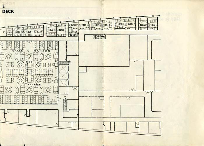 PAQUEBOT S.S NORMANDIE - PLAN DES 3èmes CLASSES - NOIR ET BLANC EDITION JANVIER 1935 - PONT E DROITE