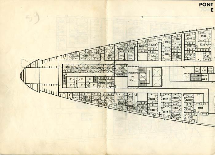 PAQUEBOT S.S NORMANDIE - PLAN DES 3èmes CLASSES - NOIR ET BLANC EDITION JANVIER 1935 - PONT E GAUCHE