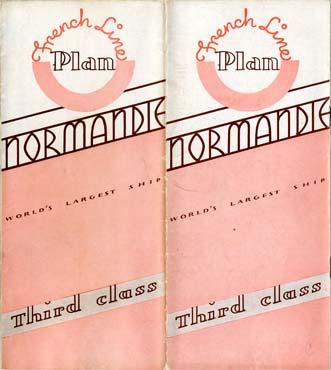 PAQUEBOT S.S NORMANDIE - PLAN DES 3èmes CLASSES - COUVERTURE ROSE EDITION AVRIL 1937 - COUVERTURE OUVERTE