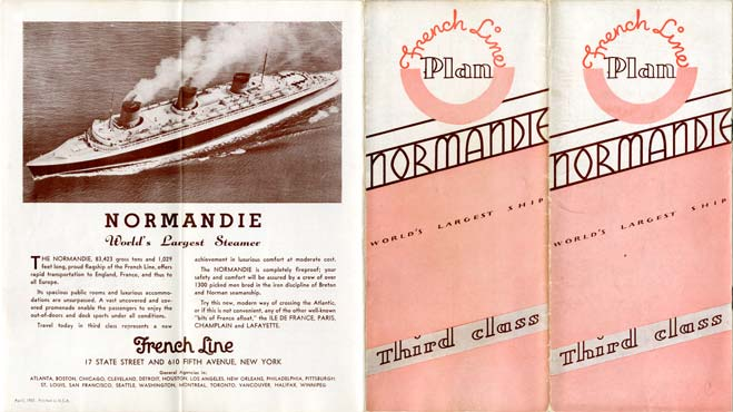 PAQUEBOT S.S NORMANDIE - PLAN DES 3èmes CLASSES - COUVERTURE ROSE EDITION AVRIL 1937 - COUVERTURE RECTO-VERSO