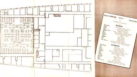 PAQUEBOT S.S NORMANDIE PLAN 3ème ROSE - PONT E - PAGE DROITE