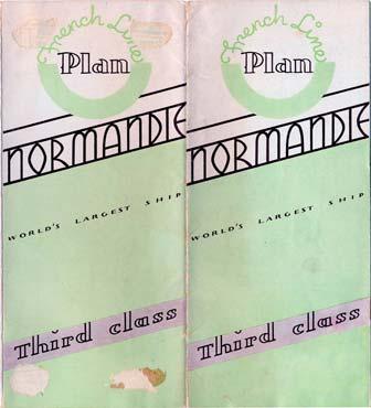 PAQUEBOT S.S NORMANDIE - PLAN DES 3èmes CLASSES - COUVERTURE VERTE EDITION MAI 1936 - COUVERTURE OUVERTE