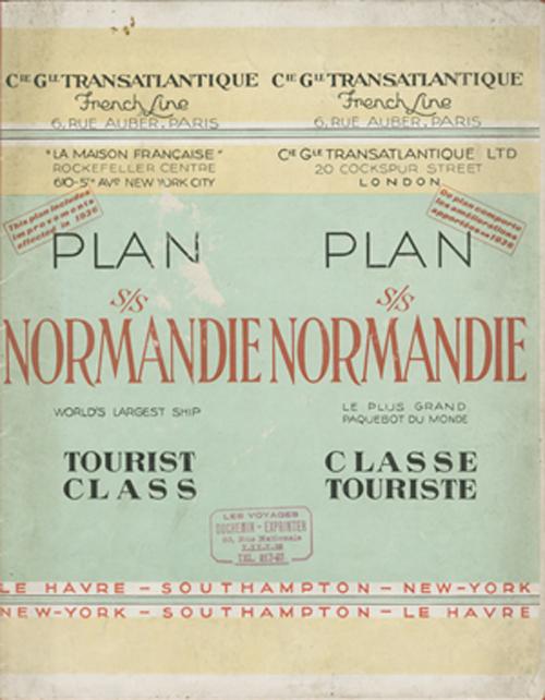 PAQUEBOT S.S NORMANDIE - PLAN 2ème CLASSE COULEURS 1936 - COUVERTURE FERMEE