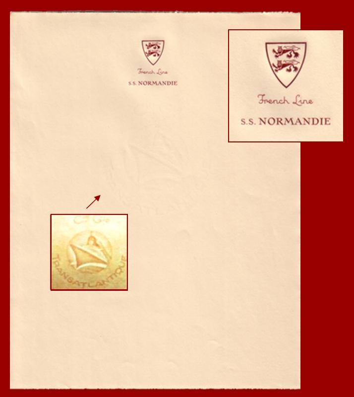 PAQUEBOT NORMANDIE - PAPIER A LETTRE AVEC EN-TETE 1-1-1