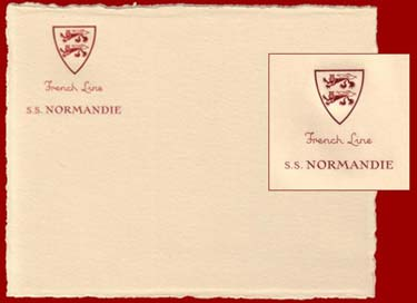 PAQUEBOT NORMANDIE - BRISTOL DE CORRESPONDANCE AVEC EN-TETE 1-3
