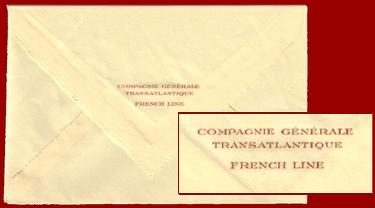 PAQUEBOT NORMANDIE - ENVELOPPE FRENCH LINE POUR PAPIER A LETTRE 1-2