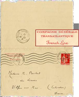 PAQUEBOT NORMANDIE S.S NORMANDIE - CARTE-LETTRE ADRESSE 1-3