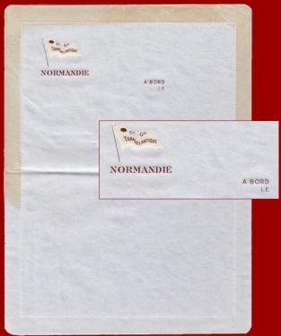 PAQUEBOT NORMANDIE - CARTE-LETTRE PAPIER BLEU AVEC EN-TETE INTERIEUR 4-2