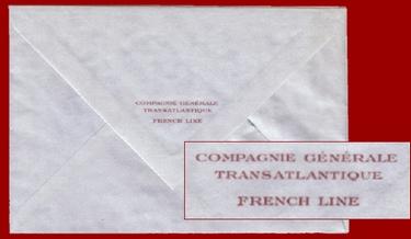 PAQUEBOT NORMANDIE - ENVELOPPE FRENCH LINE POUR PAPIER A LETTRE 4-1