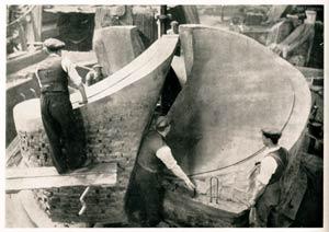 s.s. Normandie - Construction des hélices - Préparation d`un moule chez Manganese Bronze and Brass