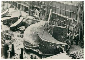s.s. Normandie - Construction des hélices - Préparation d`un moule chez Stone`s Propellers