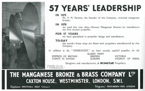 S.S NORMANDIE - THE MANGANESE BRONZE AND BRASS Co. publicité