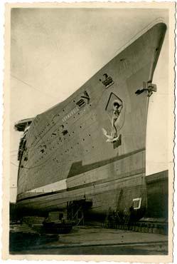 PAQUEBOT S.S NORMANDIE - Carte postale classique noir et blanc - Editeur : STUDIO A.REBINS - Réf. site : REBINSC 3-1 PSB