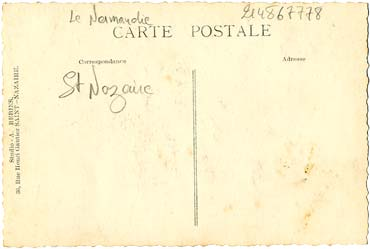 PAQUEBOT S.S NORMANDIE - Carte postale classique Noir et Blanc - Editeur STUDIO REBINS - Réf. REBINSC 3-2 PSB