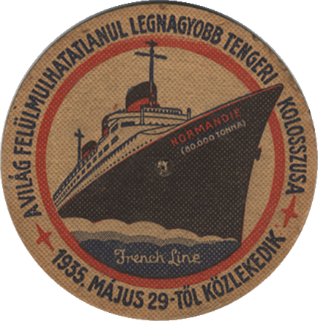 TEXTE ANGLAIS `THE WORLD`S LARGEST SHIP` ROND - Diamètre 10,8 cm. Paquebot Normandie - Sous-bock - Texte hongrois - Effigie S.S Normandie