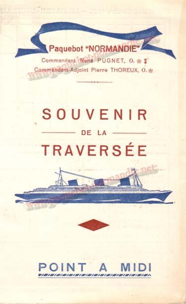 PAQUEBOT NORMANDIE - Carte-souvenir de la traversée du 2 au 7 Octobre 1935 - 1