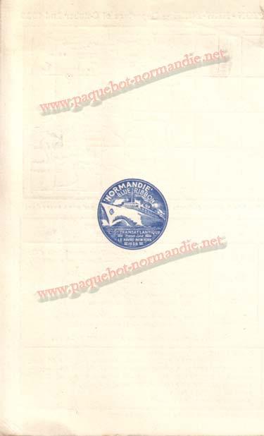 PAQUEBOT NORMANDIE - Carte-souvenir de la traversée du 2 au 7 Octobre 1935 - 3