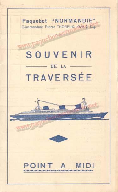 PAQUEBOT NORMANDIE - Carte-souvenir de la traversée du 2 au 7 Décembre 1936 - 1