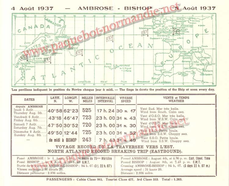 PAQUEBOT NORMANDIE - Carte-souvenir de la traversée du 4 au 8 Aout 1937 - 2