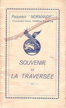 PAQUEBOT NORMANDIE - Carte-souvenir de la traversée du 8 au 13 SEPTEMBRE 1937 - 1