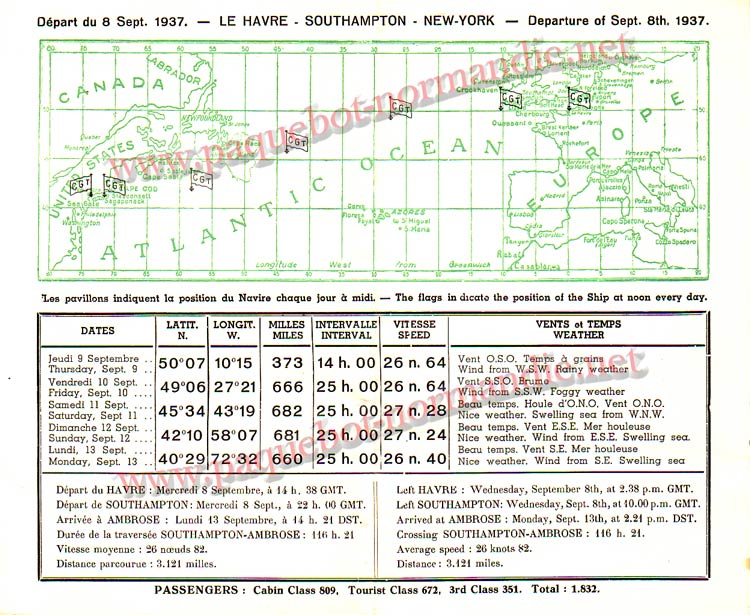 PAQUEBOT NORMANDIE - Carte-souvenir de la traversée du 8 au 13 SEPTEMBRE 1937 - 2