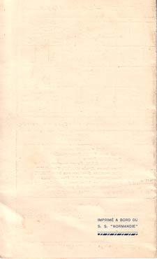 PAQUEBOT NORMANDIE - Carte-souvenir de la traversée du 8 au 13 SEPTEMBRE 1937 - 3