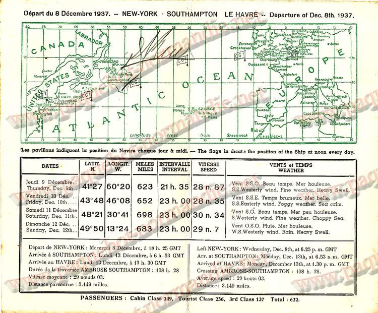 PAQUEBOT NORMANDIE - Carte-souvenir de la traversée du 8 au 12 Décembre 1937 - 2
