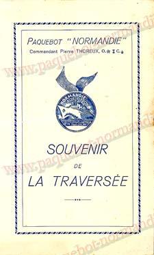PAQUEBOT NORMANDIE - Carte-souvenir de la traversée du 14 au 18 Juillet 1937