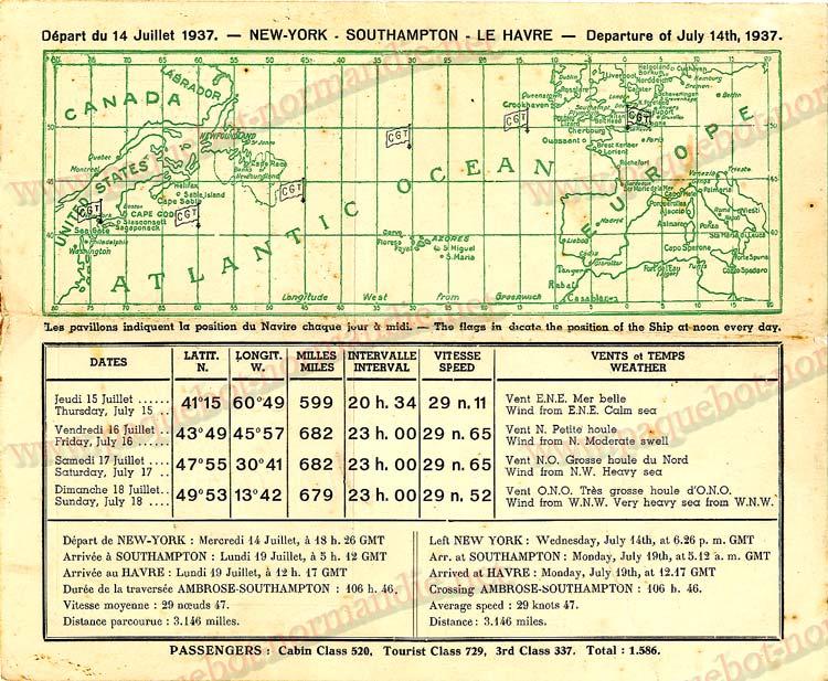 PAQUEBOT NORMANDIE - Carte-souvenir de la traversée du 14 au 18 Juillet 1937 - 2
