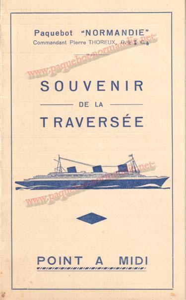 PAQUEBOT NORMANDIE - Carte-souvenir de la traversée du 14 au 19 Octobre 1936 - 1