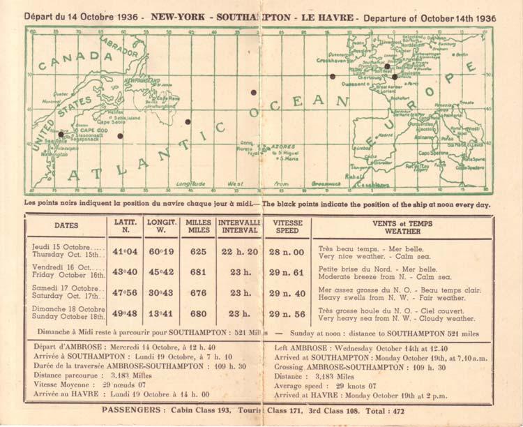 PAQUEBOT NORMANDIE - Carte-souvenir de la traversée du 14 au 19 Octobre 1936 - 2