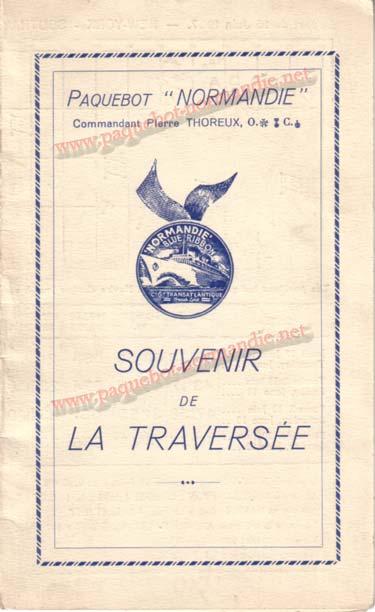 PAQUEBOT NORMANDIE - Carte-souvenir de la traversée du 16 au 20 Juin 1936 - 1