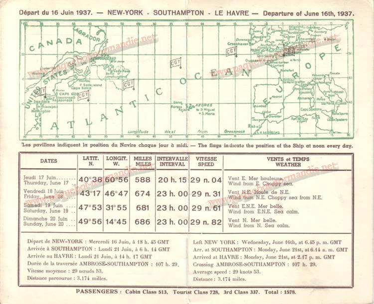 PAQUEBOT NORMANDIE - Carte-souvenir de la traversée du 16 au 20 Juin 1937 - 2