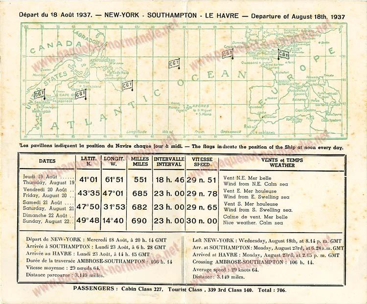 PAQUEBOT NORMANDIE - Carte-souvenir de la traversée du 18 au 23 Aout 1937 - 2