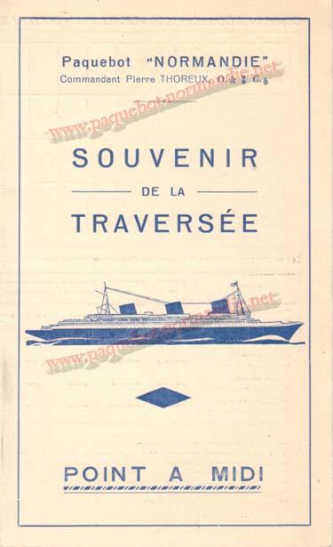 PAQUEBOT NORMANDIE - Carte-souvenir de la traversée du 18 au 23 Décembre 1936 - 1