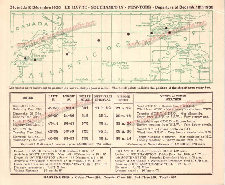 PAQUEBOT NORMANDIE - Carte-souvenir de la traversée du 18 au 23 Décembre 1936 - 2