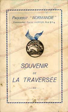 PAQUEBOT NORMANDIE - Carte-souvenir de la traversée du 21 au 25 Avril 1937 - 1