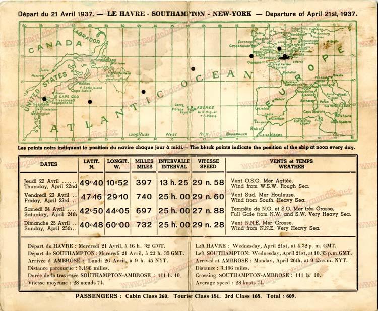 PAQUEBOT NORMANDIE - Carte-souvenir de la traversée du 21 au 25 Avril 1937 - 2
