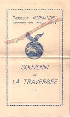 PAQUEBOT NORMANDIE - Carte-souvenir de la traversée du 25 au 30 Aout 1937 - 1