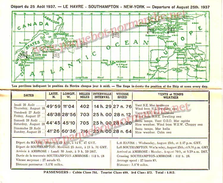 PAQUEBOT NORMANDIE - Carte-souvenir de la traversée du 25 au 30 Aout 1937 - 2