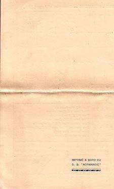 PAQUEBOT NORMANDIE - Carte-souvenir de la traversée du 25 au 30 Aout 1937 - 3