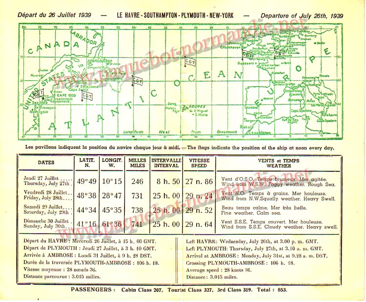 PAQUEBOT NORMANDIE - Carte-souvenir de la traversée du 26 au 31 JUILLET 1939 - 2