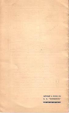 PAQUEBOT NORMANDIE - Carte-souvenir de la traversée du 26 au 31 JUILLET 1939 - 3