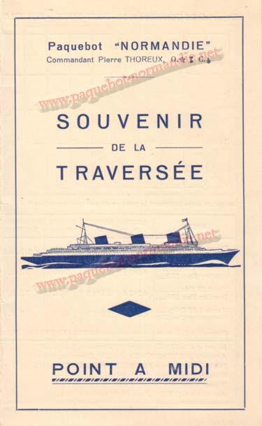 PAQUEBOT NORMANDIE - Carte-souvenir de la traversée du 26 au 31 Décembre 1936 - 1