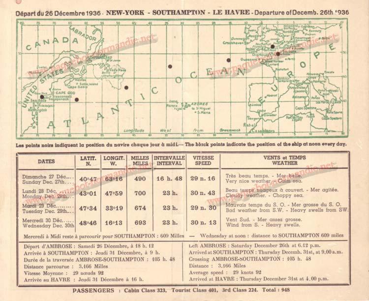 PAQUEBOT NORMANDIE - Carte-souvenir de la traversée du 26 au 31 Décembre 1936 - 2