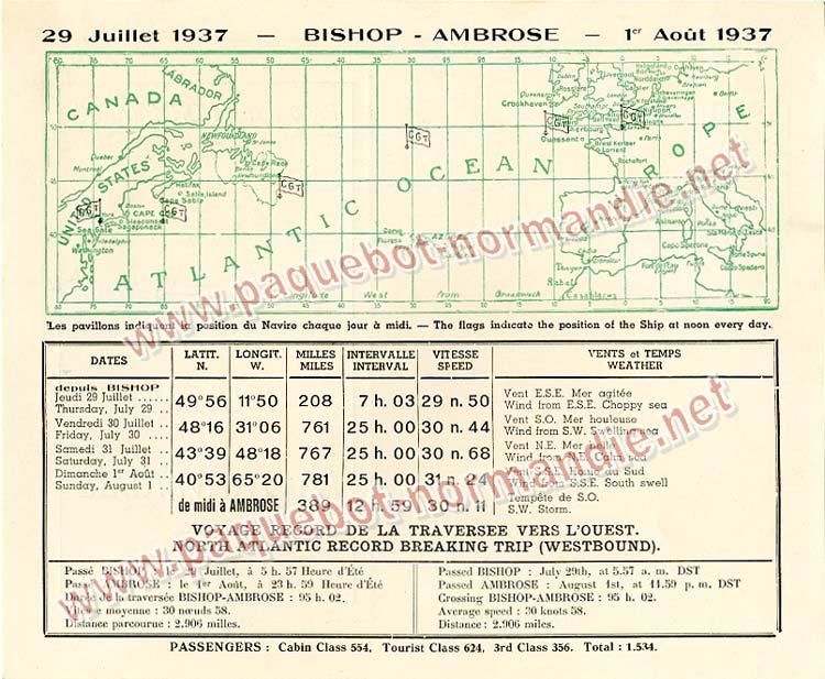 PAQUEBOT SS NORMANDIE - Carte-souvenir de la traversée du 28 Juillet au 1er Aout 1937 - 2