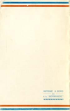 PAQUEBOT NORMANDIE - Carte-souvenir de la traversée du 29 MAI AU 3 JUIN 1935 - 3