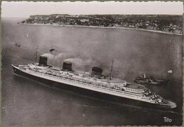 PAQUEBOT S.S NORMANDIE - CARTE POSTALE GRAND FORMAT GLACEE - EDITEUR : TITO - M. BERJAUD - REF. SITE : TITOBERJGFG-1-23-R-PSB